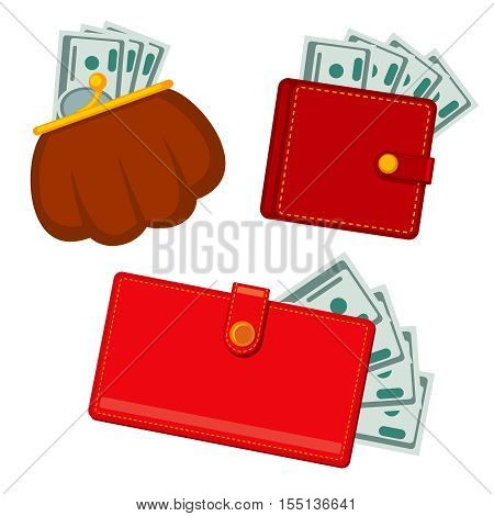 Wallet with money, green dollars. earnings vector flat icons. Finance cash earning illustration
