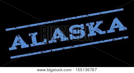 Alaska watermark stamp. Text tag between parallel lines with grunge design style. Rubber seal stamp with dirty texture. Vector blue color ink imprint on a black background.