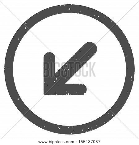 Arrow Left Down rubber seal stamp watermark. Icon symbol inside circle frame with grunge design and dust texture. Scratched vector ink emblem on a white background.