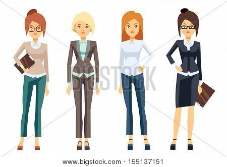 European businesswoman clothes, young female professional woman vector set. Secretary and manager illustration