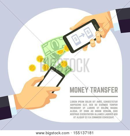 Sending and receiving money wireless with mobile phones and banking payment apps vector concept. Transaction use smartphone and electronic technology illustration
