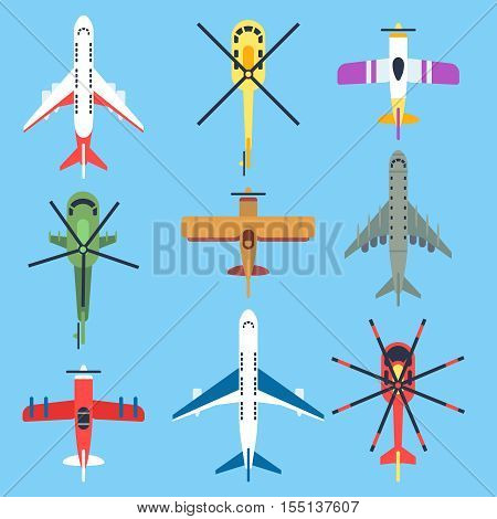 Airplane, plane, helicopter, jet top view flat vector icons. Air transport passenger for travel, military aeroplane illustration