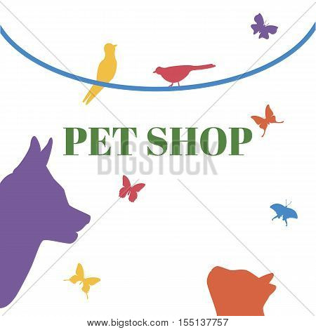 Pets Vector Logo Template. Cat head, dog head, birds, butterfly, liana. Could be use as logo of pet shop, pet clinic, or others