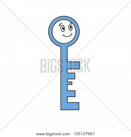 Mascot key Illustration. cartoonish key image with eyes. Can be used as logo, sign, icon, at advertising