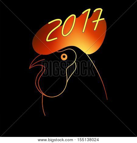 Flaming Zodiac Rooster with cockscomb. Vector illustration. 2017 New Year Symbol. Flamy Cock. Aglow silhouette on black backdround. Can be used at decoration, wallpaper, print, giftcards