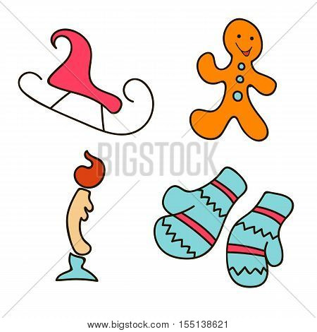 Holiday objects collection. Christmas theme with gingerbread, toboggan, candle, cone-and-berry, sleigh. Set of Christmas icons. Can be used as icons, wallpaper, wrapping paper, decoration
