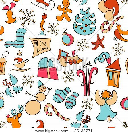 Christmas seamless pattern with gift, mittens, deer, bell, toy, gingerbread, candy cane, snowman, snowflake, greeting letter, skates, angel, hot cup, f