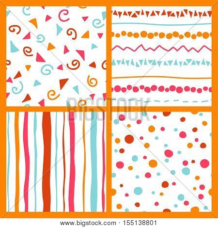 Cute set with pink, orange, red, light blue and white colored seamless patterns collection with color lines. drops, points, flourishes, tricks, ruses, hitches, hooks. Perfect for christmas, new year, valentines day, birthday, save the date, wedding invita