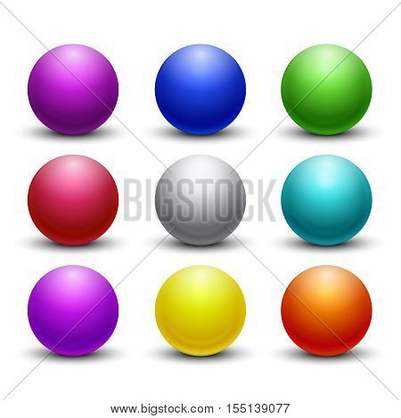 Colored glossy, shiny 3D balls, spheres vector set. Color globe orb icons, round figure decorative illustration