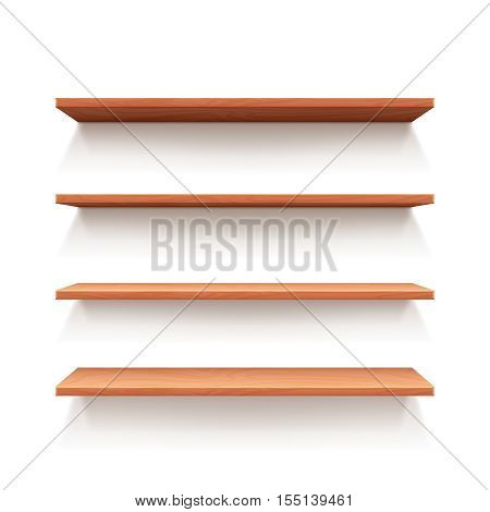 Empty wall book shelf, wood shelves for shop and store interior design. Vector illustration