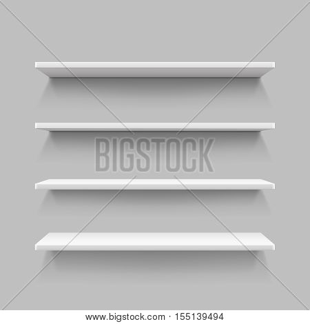 Empty white shop shelf, retail shelves from plywood frame, realistic bookshelf rectangle, 3d store wall display vector illustration