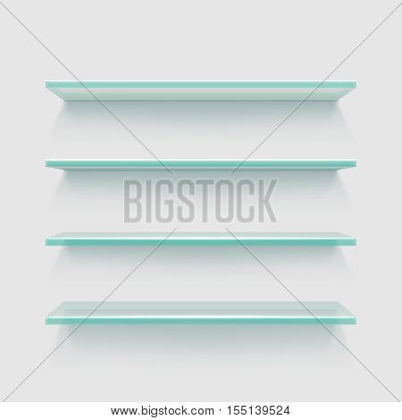 Empty clear glass store expo shelves, showcase product display vector illustration. Rectangle black glass shelves for interior home
