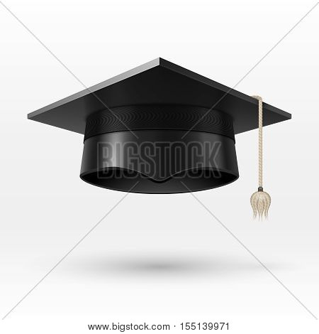 Academic graduation cap, hat. realistic vector illustration. Achievement in university, college or school