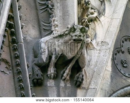 The gargoyle on the north side wall of the Notre Dame Cathedral