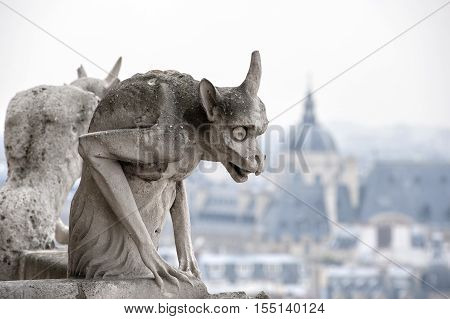 Chimera with city of Paris on background.
