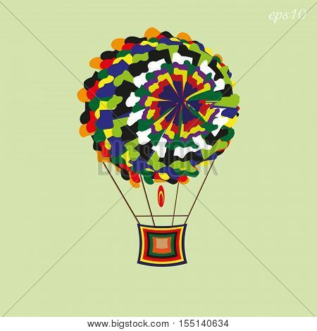 Patchwork aerostat image Abstract round object flying bright ball shreds and basket author handmade background text vector illustration eps10 stock