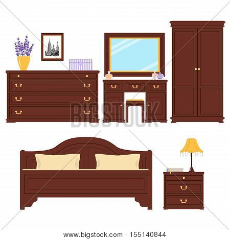 Set of Furniture for bedroom. Cute sleeping room. For advertising, real estate image, furniture shop. Bed, picture, chest of drawers, table lamp, dressing table, bedside table, wardrobe banquette