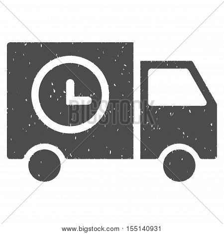 Shipment Schedule Van rubber seal stamp watermark. Icon symbol with grunge design and dust texture. Scratched vector gray ink emblem on a white background.
