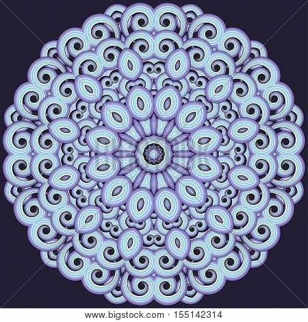 Round vector pattern. Ornament consists of colored curls. Easy to change colors.