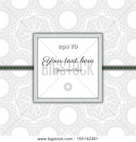 Vector abstract background with frame for your text. Decor is delicate. Color easily changed. Perfect as invitation or congratulation.