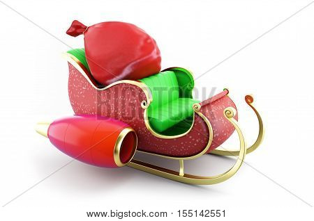 santa sleigh and Santa's Sack with Gifts on white background 3D illustration