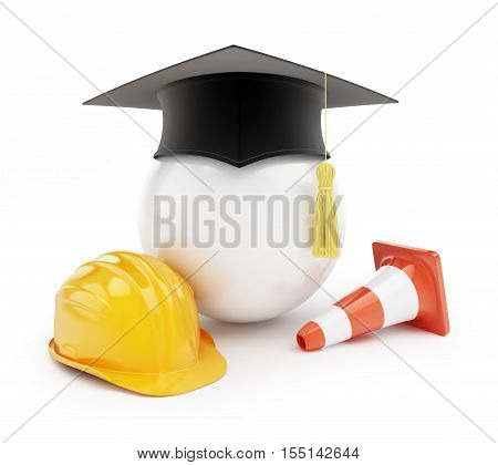 builders school on a white background 3d Illustrations
