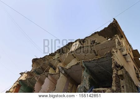 High Resolution Side View of Demolished Building