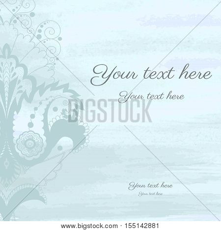 Vector card with damask floral pattern. Watercolor background.