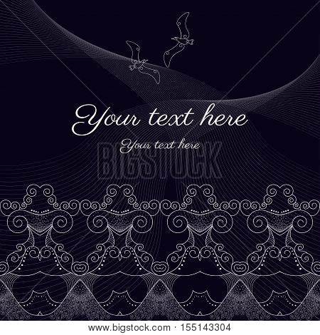 Vector abstract background with sample text. Decor is delicate and filigree. Marine theme with seagulls. Perfect as invitation or congratulation.
