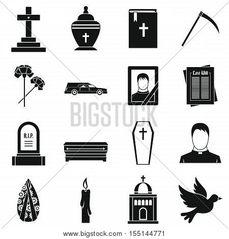 Funeral icons set. Simple illustration of 16 funeral vector icons for web