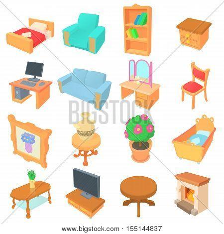 Different furniture icons set. Cartoon illustration of 16 different furniture vector icons for web