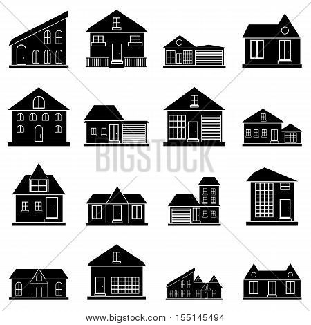 Houses icons set. Simple illustration of 16 houses vector icons for web