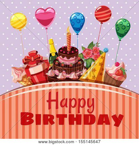 Happy birthday items concept. Cartoon illustration of Happy Birthday items vector concept for web