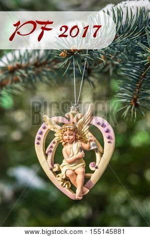 Pf 2017 - Heart With Angel, Christmas Decoration