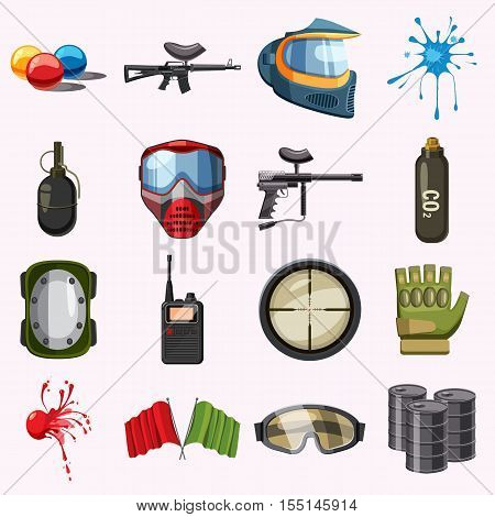 Paintball icons set. Cartoon illustration of 16 paintball vector icons for web