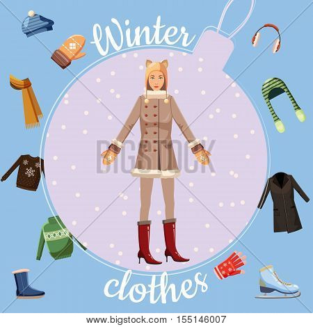 Winter clothes concept. Cartoon illustration of 16 winter clothes vector concept for web