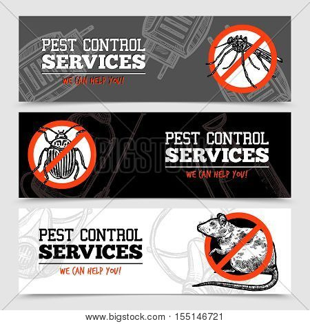Pest control service horizontal sketch banners with insects and rodent isolated vector illustration
