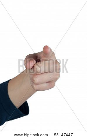Human hand pointing with finger towards you. Isolated on white
