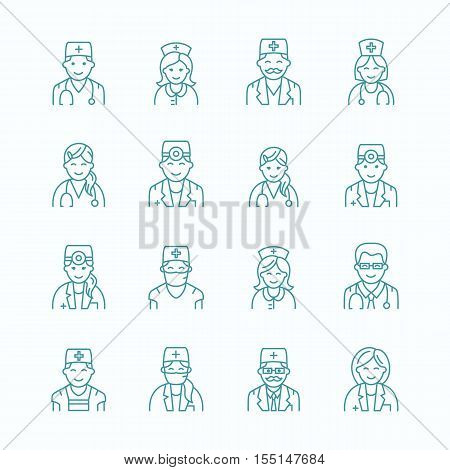 Cute vector line icon of doctor. Hospital clinic linear logo. Outline people doctor sign - surgeon cardiologist dentist therapist physician nurse. Design element for site medical business logotype