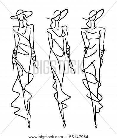Sketch Fashion Poses - women in evening dresses
