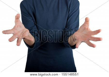 Man in dark blue shirt showing hands with splayed fingers towards you. Isolated on white background