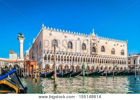View at amazing Doge's Palace in Venice city, Italy. Waterfront view from gondola.