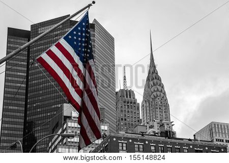 American flag colored New York City USA the Skyline Black and White