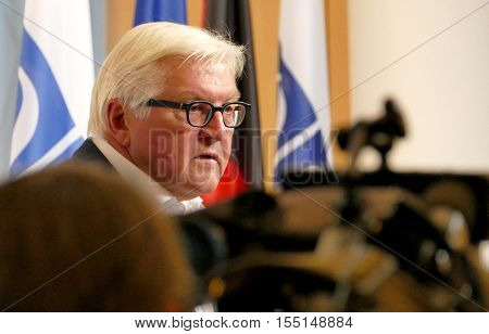 POTSDAM GERMANY. SEPTEMBER 1ST 2016: Federal Foreign Minister Dr Frank-Walter Steinmeier holds a press conference at the Informal OSCE Foreign Minister's Meeting held in Potsdam Germany