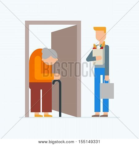 Social support for older people - food and goods delivery. Volunteerism vector illustration