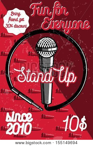 Color vintage Stand up comedy show poster. Vector illustration, EPS 10