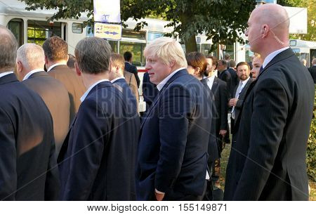 POTSDAM GERMANY. SEPTEMBER 1ST 2016: UK Foreign Ministers Boris Johnson walking in the park during the Informal OSCE Foreign Minister's Meeting held in Potsdam Germany