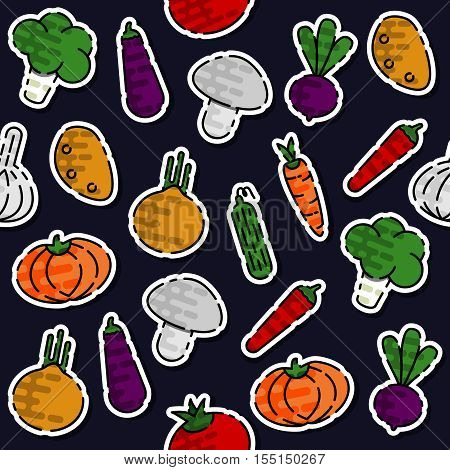 Colored vegetables pattern. Vegetables Colorful background. Lettuce, onions, garlic, asparagus, mushrooms radishes bell peppers tomatoes carrots cucumbers eggplant