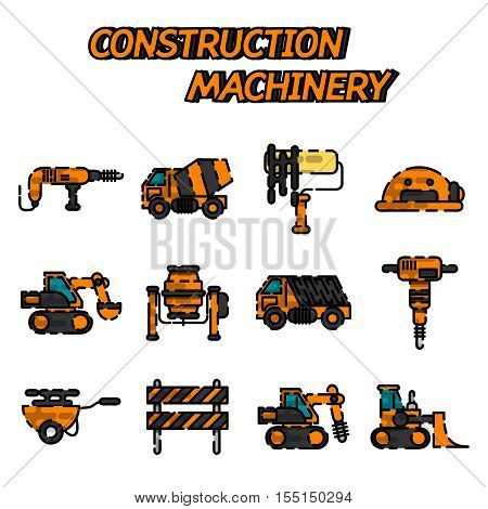 Construction machinery set design flat style isolated on white background. Tall crane lifts the concrete slab or releases. Heavy machine concrete mixer, loader and crawler crane. Vector illustration