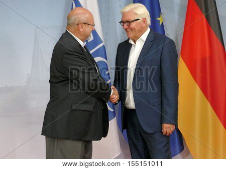 POTSDAM GERMANY. SEPTEMBER 1ST 2016: Federal Foreign Minister Dr Frank-Walter Steinmeier welcomes Lamberto Zannier Secretary General of the Organisation for Security and Co-operation in Europe to the Informal OSCE Foreign Minister's Meeting held in Potsda